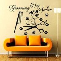 Bakım Köpek Salon Duvar Çıkartmaları Çıkarılabilir Paw Print Tarak Makaslar Vinil Sanat Duvar Kağıdı Güzel Yavru Duvar Mural Evi Dekor Y-268
