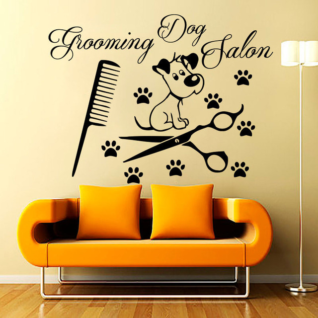 Grooming Dog Salon Wall Stickers Removable Paw Print Comb Shears ...