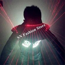 T94 Mens robot dance led clothes ballroom RGB light led costumes laser vest red laser glasses