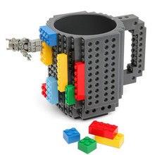 DIY Construir-en Ladrillo Bloques de Construcción de Plástico Taza de Café Té con Leche Regalo para Los Amigos 12 oz tazas DIY Taza de Té El Envío libre SH10