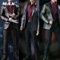 S02 1/6 Scale Male Figure Clothes Accessory Set Men's Fashion Leather Suit Clothes Set for PH/COOMODEL Action Figure Body
