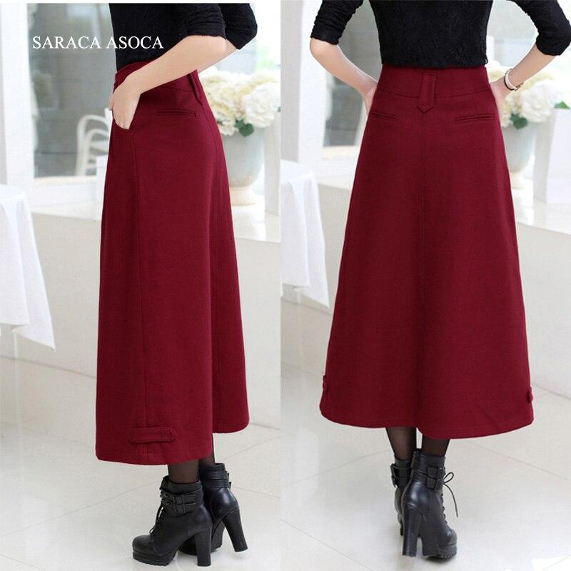 15c76e0a2 € 28.8 32% de DESCUENTO|Nuevo Sytle Falda larga de invierno de moda  femenina gruesa tela hasta el tobillo faldas rectas de mujer en Faldas de  Ropa ...
