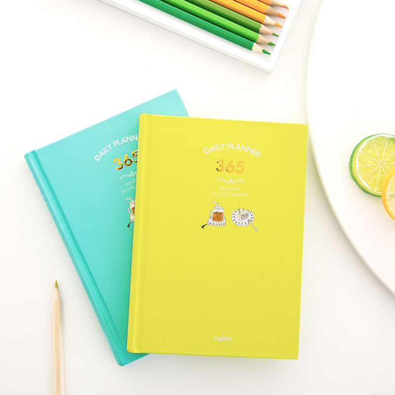 Nuevo 2018 coreano kawaii cute 365 planificador diario semanal mensual planificador anual agenda plan diario cuaderno lácteos A5