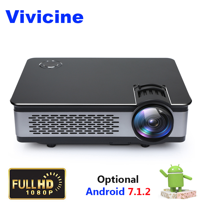 лучшая цена Vivicine 3800 Lumens HD Home Theater Android 1080P Projector Portable 1920x1080 Optional HDMI USB PC Video Game Proyector Beamer