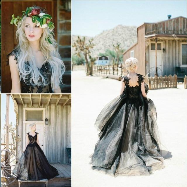 Mode Schwarze Gothic Hochzeitskleid Appliques Brautkleid Lange ...