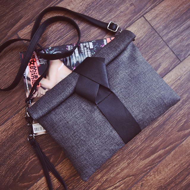 2017 fashion pu leather handbags small solid bow women evening clutch bags female envelope women shoulder messenger bags ND012
