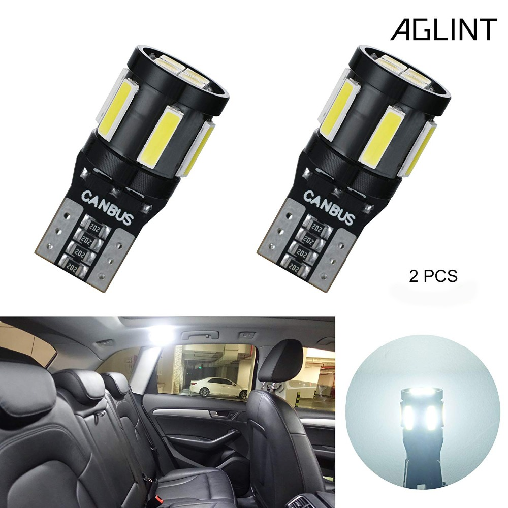 Aglint 2pcs Led Bulbs For Cars Interior Map Dome Trunk Lights T10 194 5w5 501 Canbus Led No Obc 10smd 7020 3030 Led White 12volt To Make One Feel At Ease And Energetic Automobiles & Motorcycles