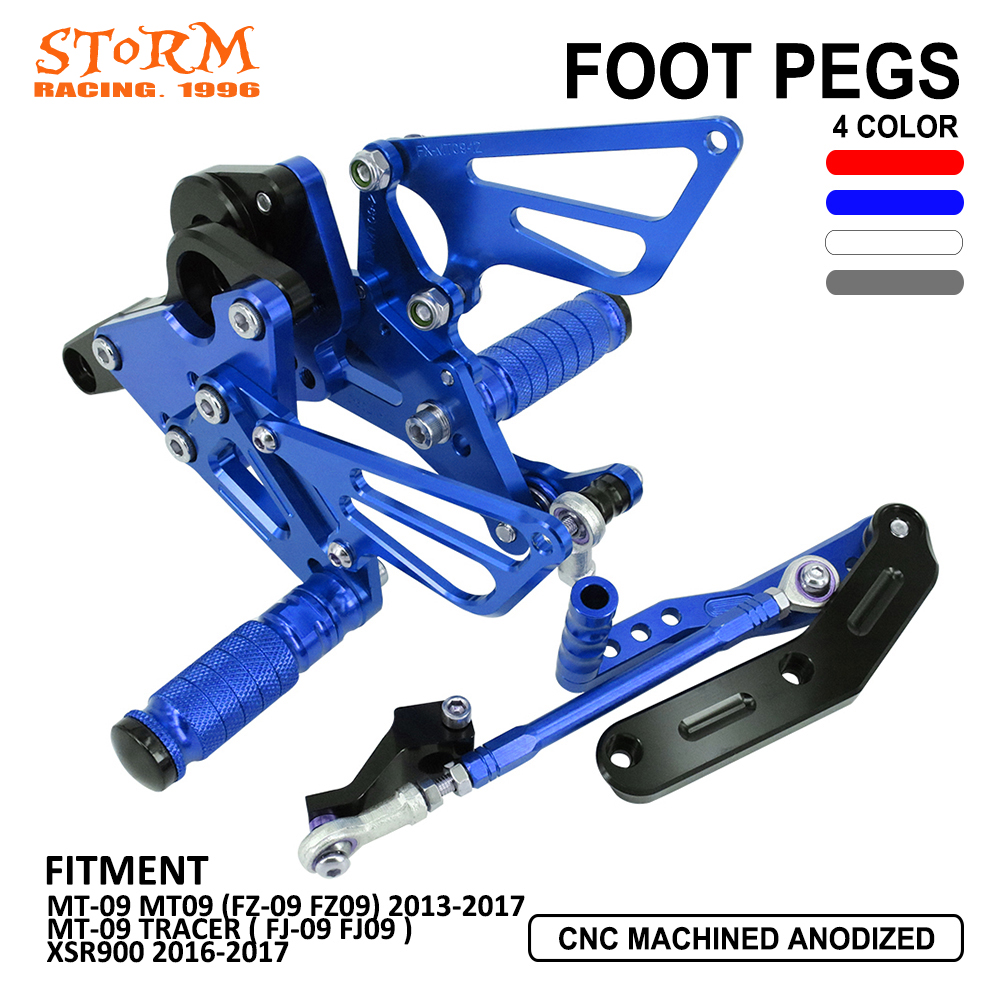 Motorcycle Aluminum Adjustable Rearsets Foot Pegs Rear Set For Yamaha MT-09 MT09 FZ-09 FZ09 TRACER FJ-09 FJ09 13-17 XSR900 Motorcycle Aluminum Adjustable Rearsets Foot Pegs Rear Set For Yamaha MT-09 MT09 FZ-09 FZ09 TRACER FJ-09 FJ09 13-17 XSR900