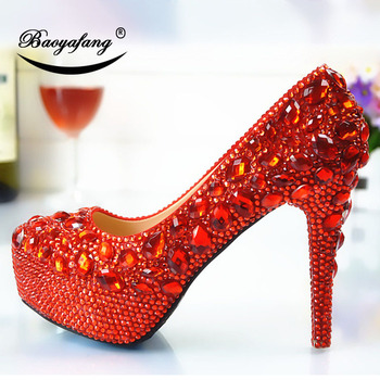 2019 Womens wedding shoes Size drill red Crystal Shoe woman Ladies Party dress shoes Bride bridesmaid's wedding shoes