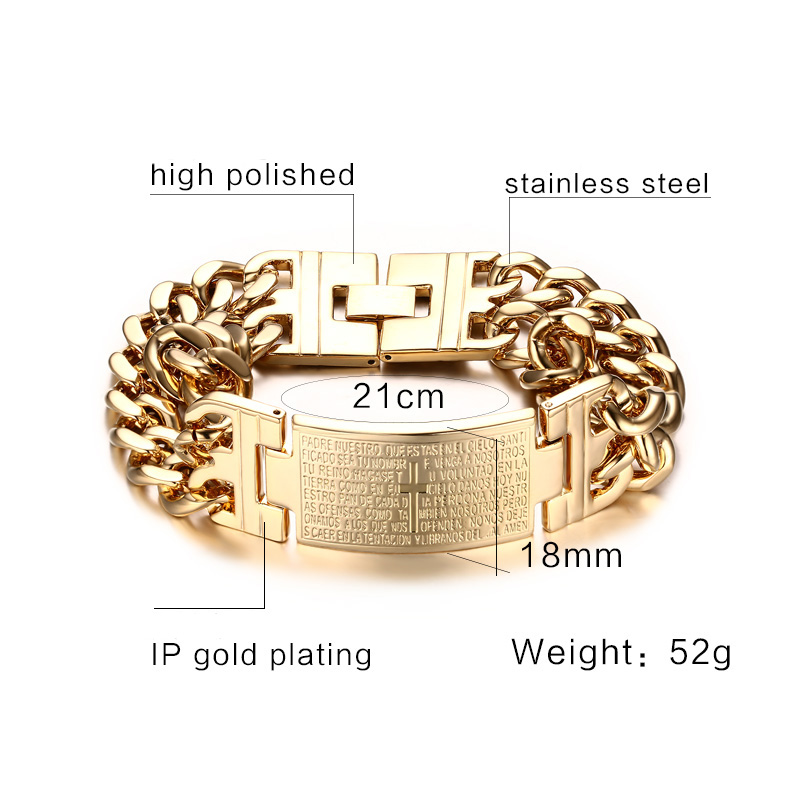 Vinterly Yellow Gold Color ID Bracelet Men 316l Stainless Steel - Fashion Jewelry - Photo 2