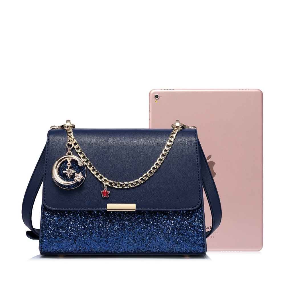 JUST STAR Women s Leather Messenger Bags Ladies Chains Diamond Shoulder  Purse Female All-match Navy Blue Flap Crossbody Bags bad550c1bc