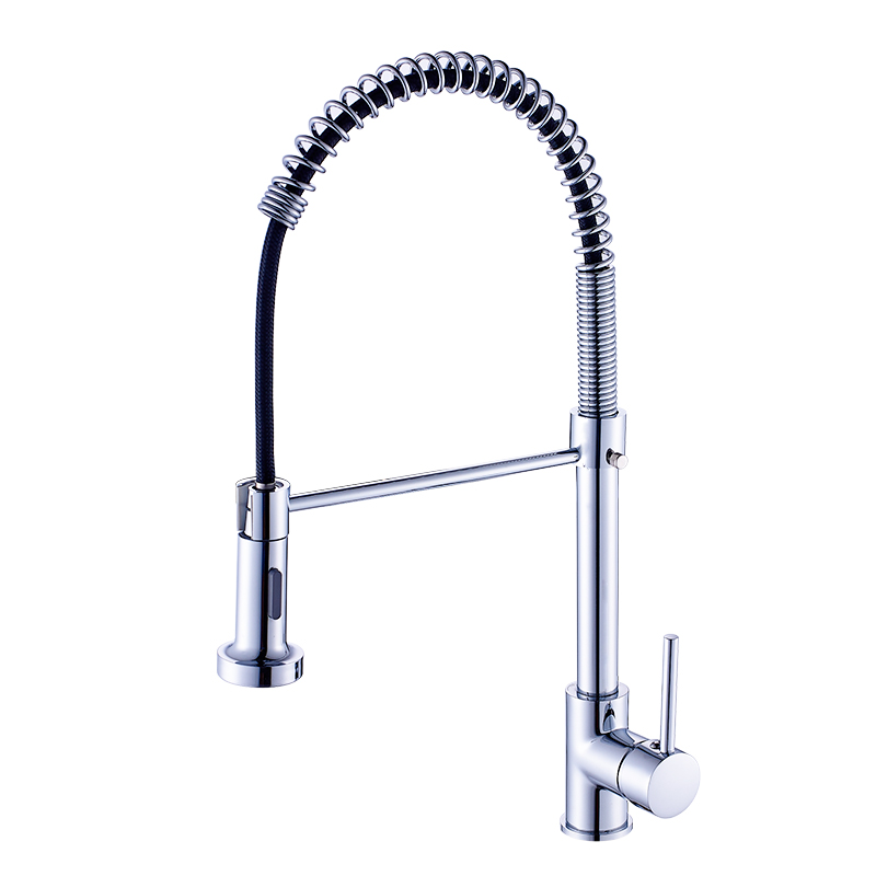 Kitchen Faucet Pull Out Deck Mounted Single Hole Handle kitchen Sink Mixer Tap Chrome Finish Faucet for Kitchen Torneira black chrome kitchen faucet pull out sink faucets mixer cold and hot kitchen tap single hole water tap torneira