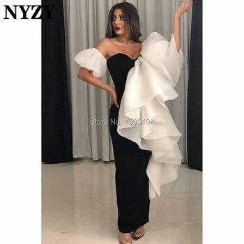 White Black Africa Arabic Evening Dress 2019 NYZY E181 Satin Organza Memraid Evening Gown robe de soiree Dubai vestidos de gala