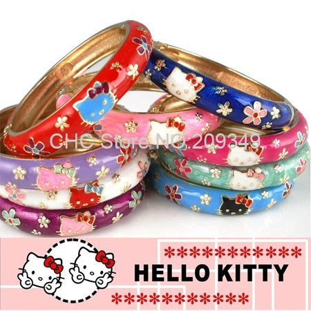 Bangles,Hello Kitty 18KGP Enamel Painting,High Quality,Many Colors Mixed Order,Free Shipping Wholesale