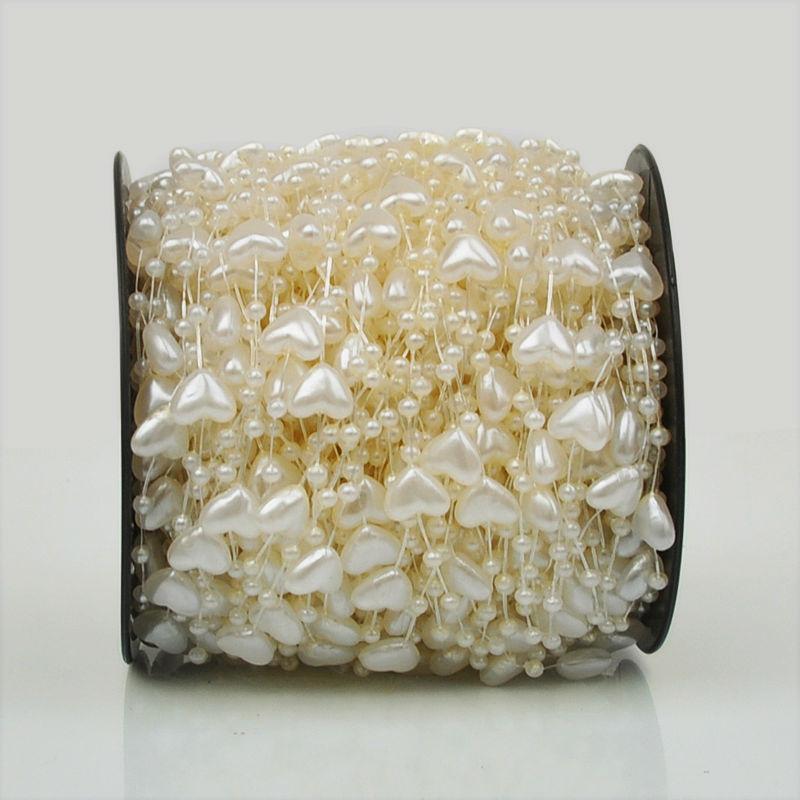 87a90a447 Envío libre 60 metros línea de pesca perlas cadena Wedding Party Cake  Decoración Accesorios Corazón del melocotón del grano cadena blanco