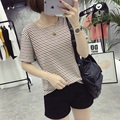 2016 Red and Black Stripe T Shirt Women O Neck Short Sleeve Casual Striped Tops Teeps Slim Casual Cotton Tshirt Female Plus Size