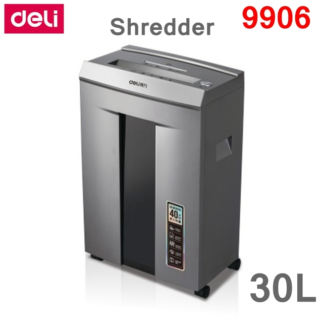 Deli 9906 Business Type Electric Paper Shredder Office 30l 220vac 400w 16 Sheets Infrared Automatic