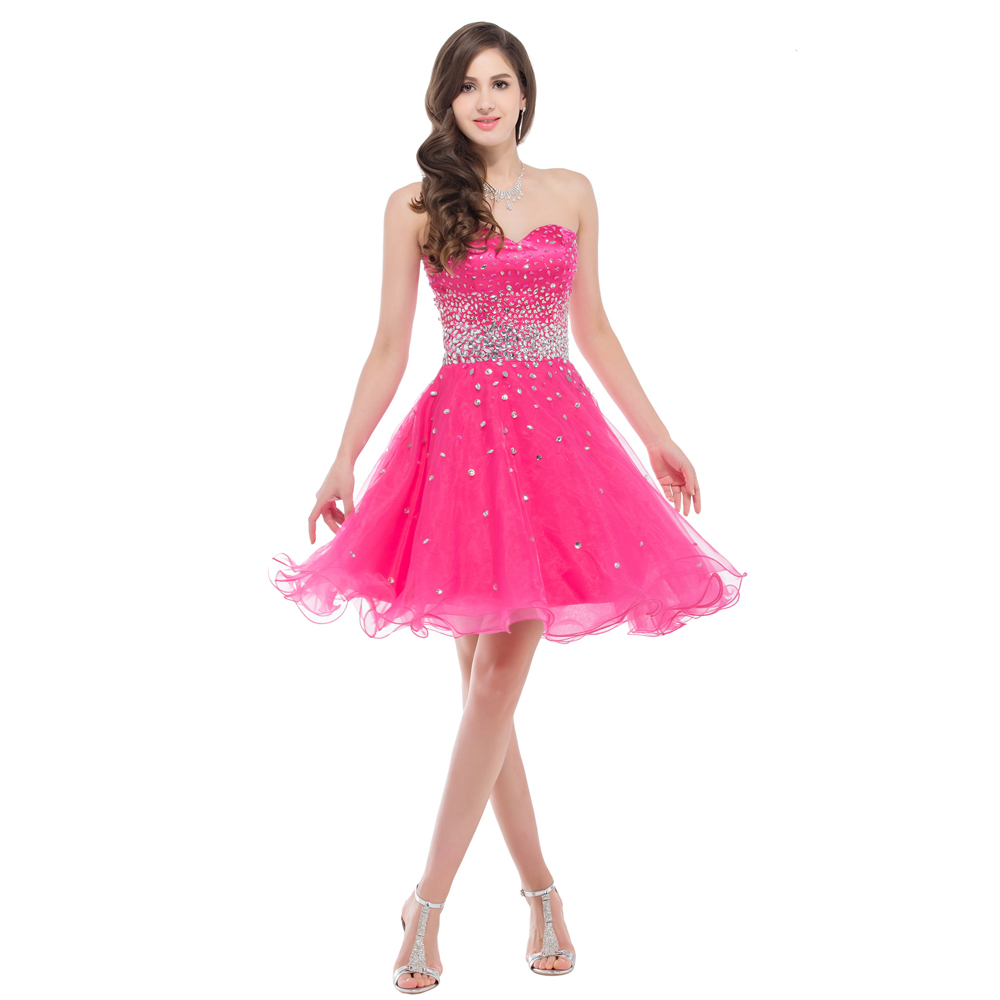 Grace Karin CL6145 Strapless Short Organza Hot Pink Deep Pink Prom ...
