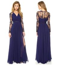 New Summer Prom Evening Wedding Long Maxi Dress Elegant Dress Long Sleeve Chiffon Lace Embroidery V Neck Sexy Floor Length Dress