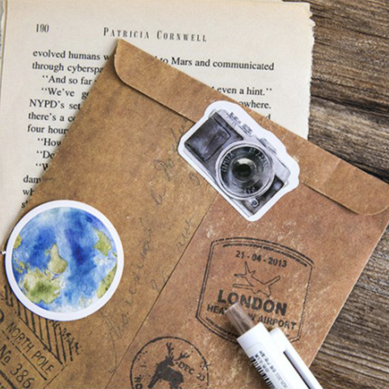 Купить с кэшбэком 46Pcs/box Japanese Kawaii Travel Sticker Scrapbooking Creative DIY Diary Journal Adhesive Labels Stickers Stationery Supplies