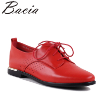 Bacia Genuine leather flat shoes women handmade Red Color Patent leather shoes vintage Classic style shoes Lace Up VXA008