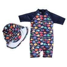 купить Children Sunscreen Swimming Suit Male Girl Boys Kids Clothes Baby Lin Tai Bathing Cap Roupas Infantis Menino Menina дешево