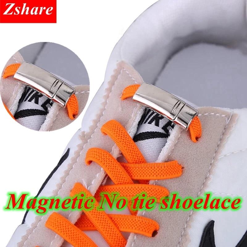 1Pair Magnetic Shoelaces Elastic Quick No Tie Shoe Laces Kids Adult Unisex Locking Shoelace Flat Sneaker Shoe Laces Strings(China)