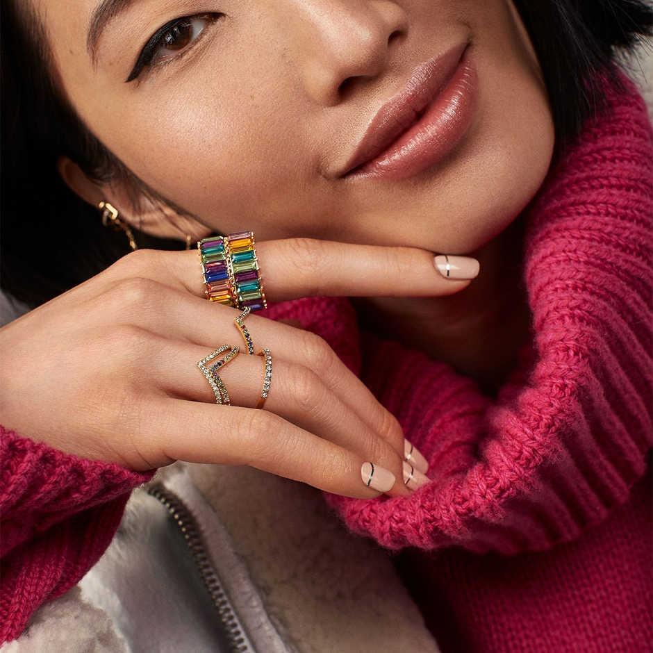 เงินสเตอร์ลิง 925 ทองแหวนสาย micro pave cz eternity 9 สี stack 925 silver rainbow cz ผู้หญิงแหวน