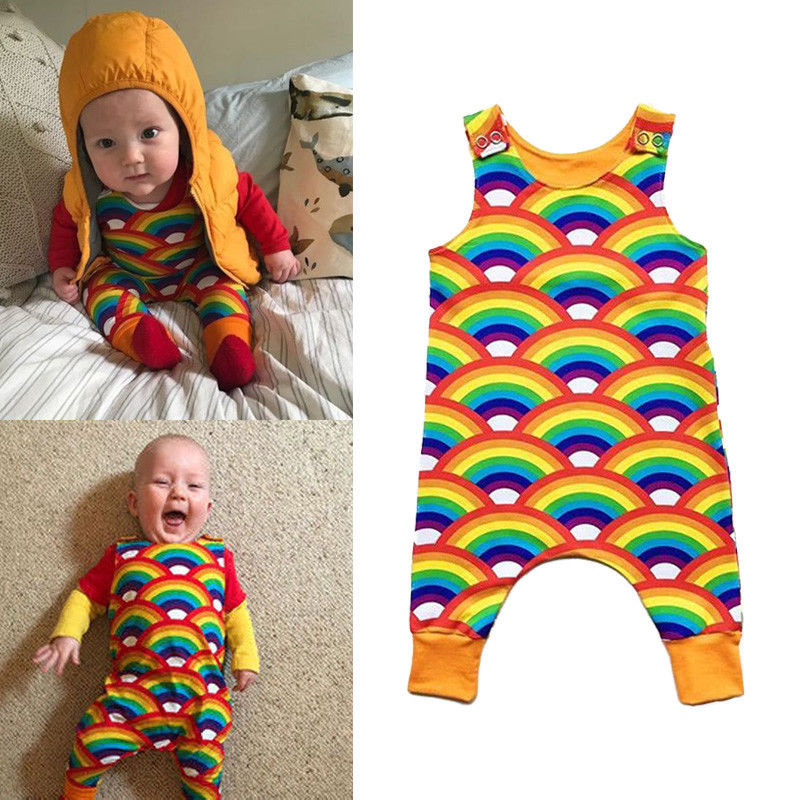 Newborn Infant Baby Boy Girl Rainbow   Romper   Sunsuit Toddler Girls Kids Sleeveless Cotton   Rompers   Jumpsuit Summer Overall Clothes