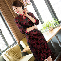 New Winter Traditional Chinese Dress Black Cheongsam Velour Evening Dress Long Sleeve Qipao Dress Chinese Style