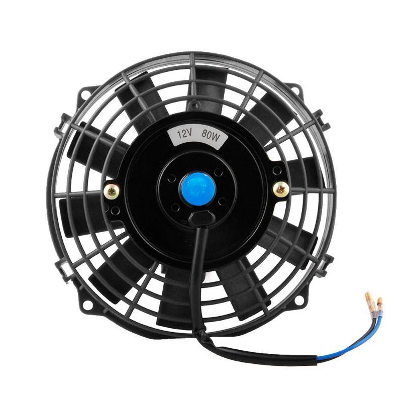 Universal 7inch 80W DC 12V Car Radiator Cooling Fan Heat Dissipation Fan Auto Air Vent Cooling Fan Environmental Exhaust Fan New sanyo 9wp0812h401 new imported japanese ip68 waterproof fan 8025 12v cooling fan