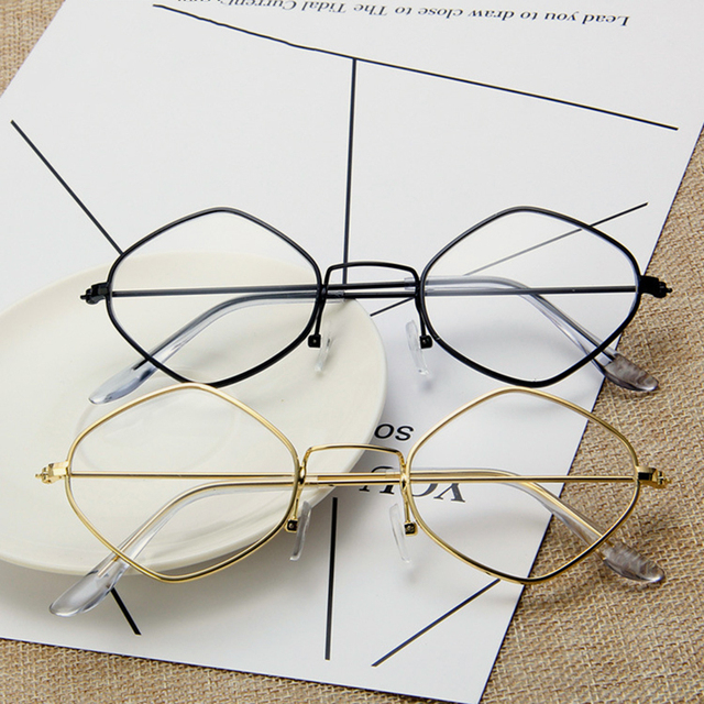 2018 New Fashion Small Square Frame Goggles Vintage Clear ...