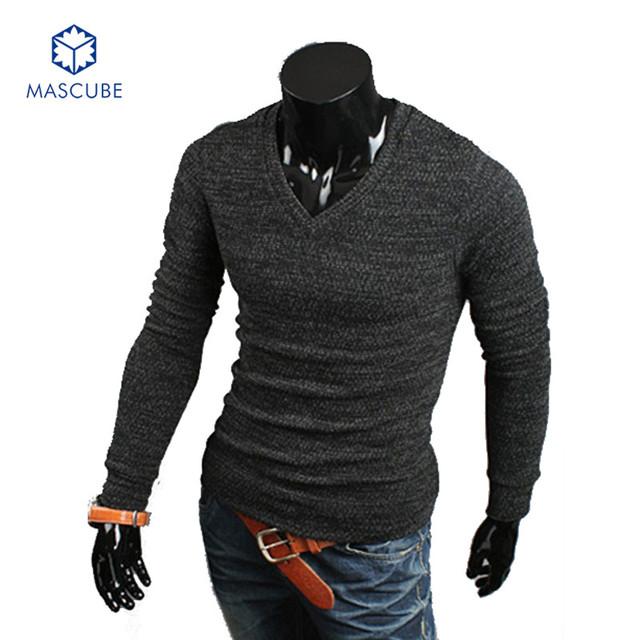Homens marca Pulôver Grosso Inverno Quente Pullovers Algodão Malhas Com Decote Em V Pulôveres Mens Mão de Malha Masculino Suéter Cinza