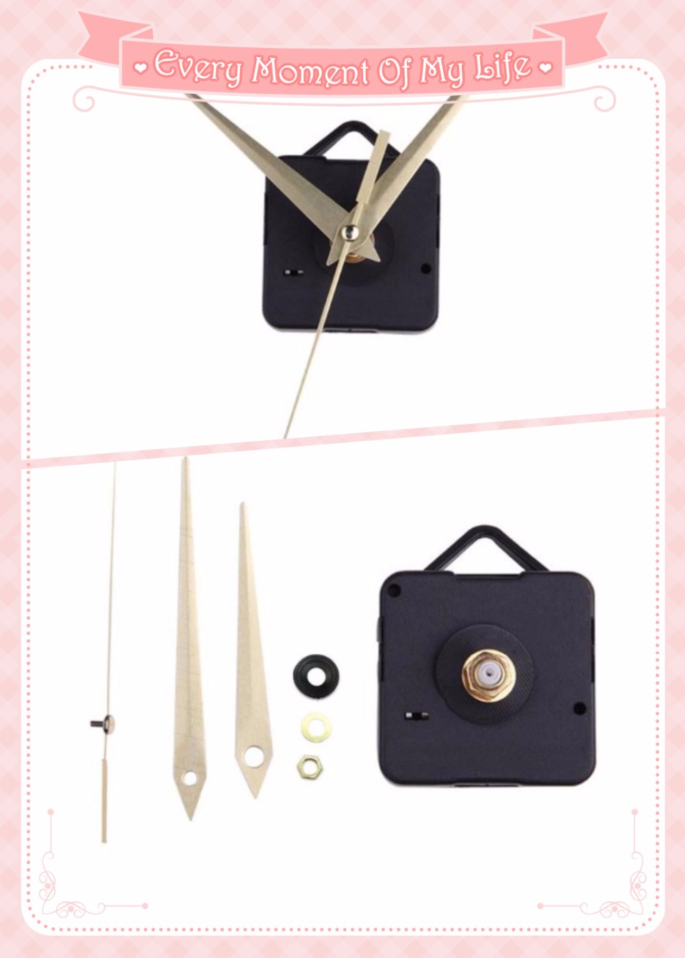 Mécanisme de mouvement à Quartz horloge argent/or Kit de réparation des mains ensemble d'outils avec crochet 100 ensembles