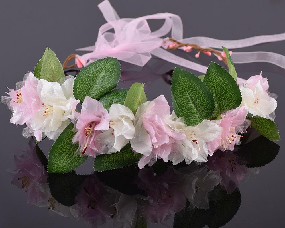 CXADDITIONS Adjustable Bridal Rose Leaves Floral Crown Hair Wreath Tiara Breath Dried Flower Headwear Hairpiece Headdress Women