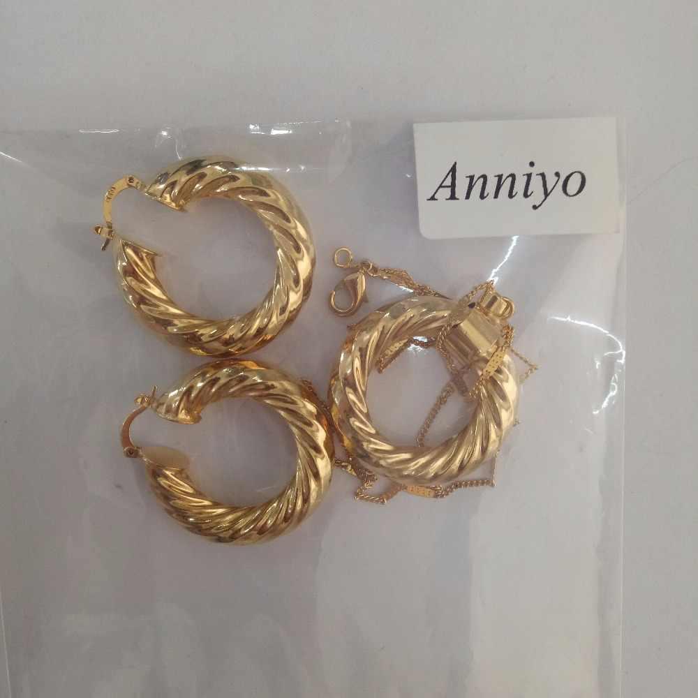 مجموعة أقراط وقلادات إفريقية أثيوبية من aniyo مجوهرات ذهبية اللون للسيدات إسرائيل/السودان/العربية/الشرق الأوسط #030806