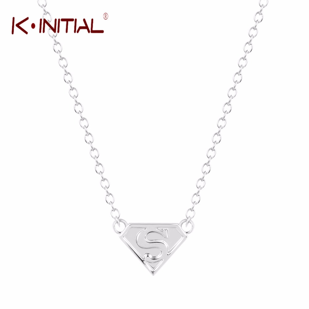 kinitial 10pcs superman pendant necklace triangle necklaces jewelry silvergold letter s necklace for men