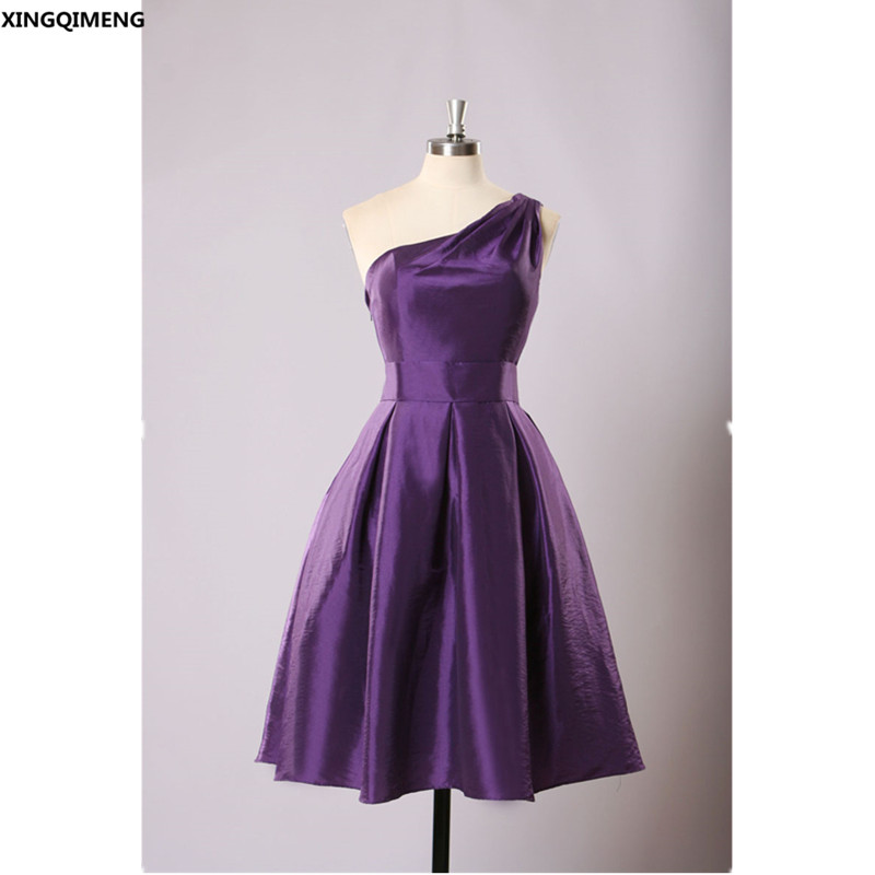 Purple Taffeta Cocktail Dresses Knee Length Elegant Short Cocktail