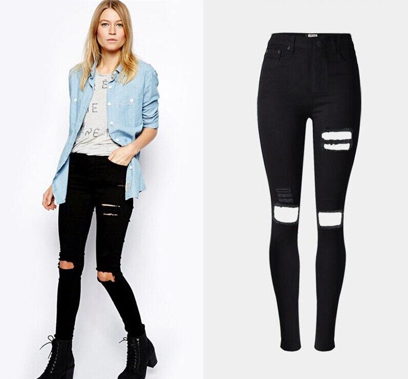 Jeans Rotos Mujer Rodilla