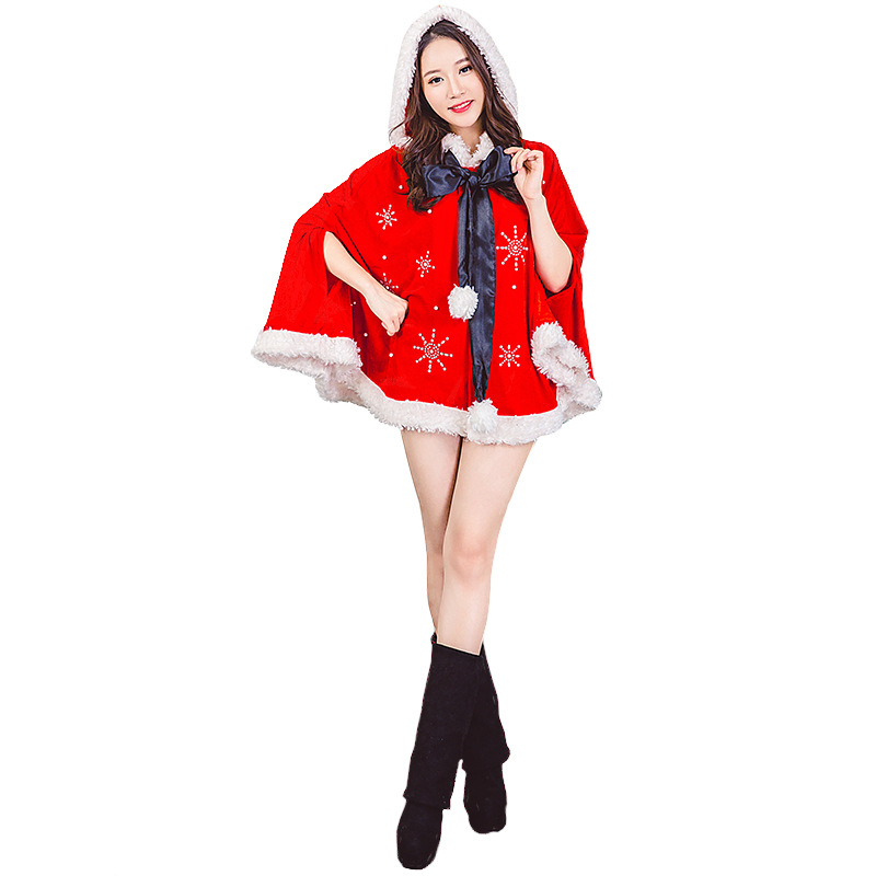 Velvet Red Hooded Christmas Snowflake Cloak Costumes For Woman and Girls Christmas Cape Party Cosplay