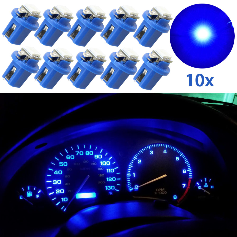 10pcs T5 B8.5D 5050 1SMD Auto Accessories Dashboard Dash Cluster Speedmeter Instrument Panel LED Light Blue 12V Car Light source 2pcs lot red led light 25 31mm spst 6pin on off g128 boat rocker switch 16a 250v 20a 125v car dash dashboard truck rv atv home