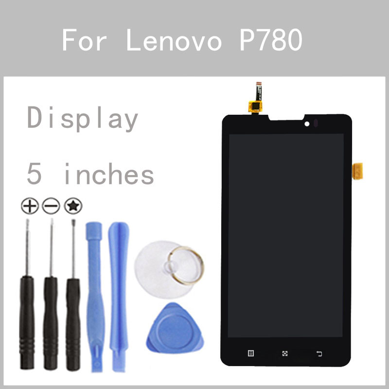 ФОТО Original LCD For Lenovo P780 Display Screen Digitizer Touch Screen Glass Panel 5 Inch Replacement FreeTools
