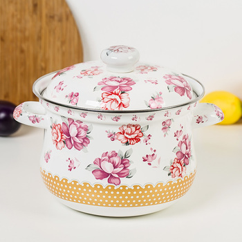 Flower thickening porcelain enamel soup pot stew pot with lid saucepan hot pot health induction cooker stewpot kitchen tool