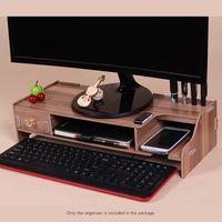 Wooden Monitor Stand Riser Computer Desk Organizer Holder with Keyboard Mouse Storage Slots for Office Supplies School Teachers