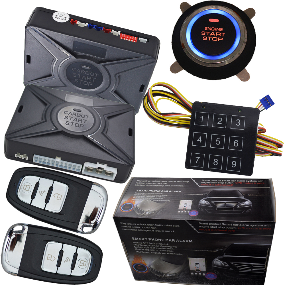 rfid auto car alarm system with auto window up output after remote lock action rfid emergency unlock car door engine start stop pke smart car alarm system is with passive auto lock or unlock car door keyless go push button start stop remote start stop