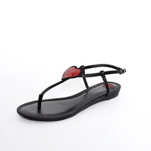 Women Lip Heart Sequins Flip Flop Thong Sandal Ladies 2017 Summer Leather Black Rome Love T-strap Flat Gladiator Shoes Girl