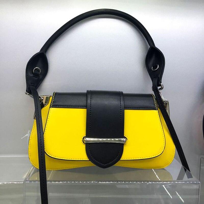 Bolsas de Luxo Bolsa Feminina Couro Genuíno Cor Hit Crossbody Marca Designer Senhoras Ombro Mensageiro 2020
