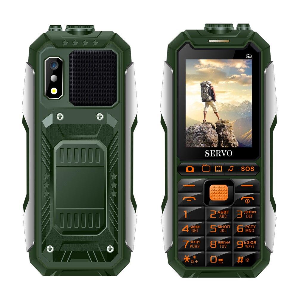 """Серво X7 2,"""" Три sim-карты мобильного телефона антенна для аналогового ТВ 4000 мАч Мощность банк Лазерная Голос Изменение Функция мобильных телефон - Цвет: Green"""