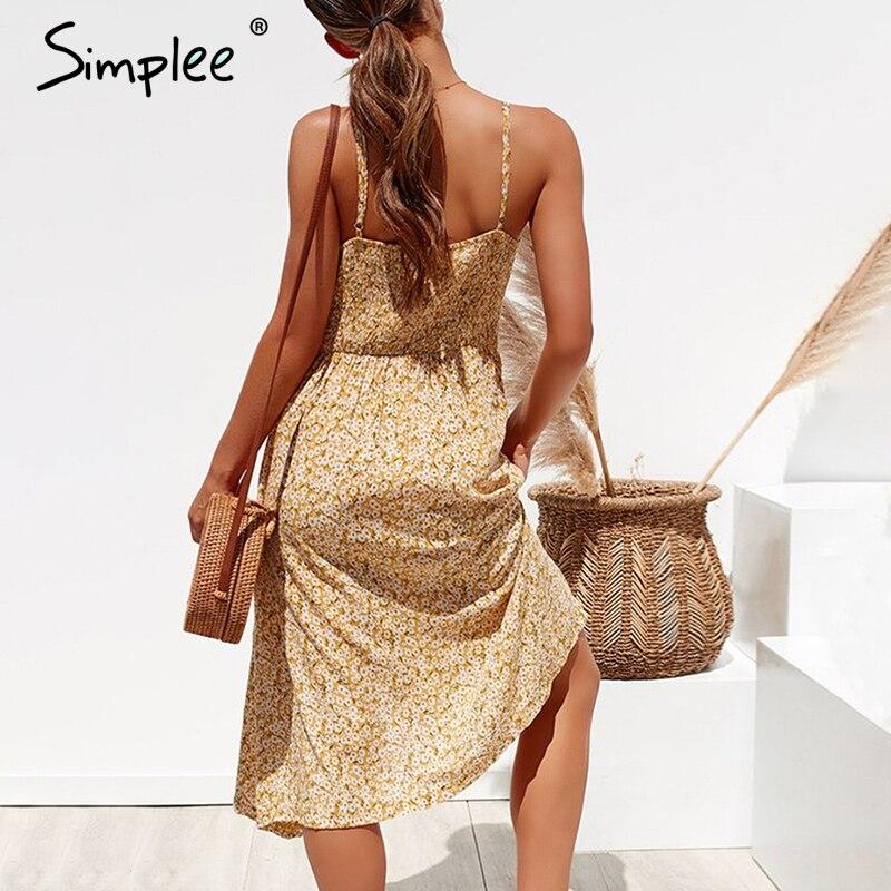 Simplee Elegant button women dress Pocket polka dots yellow cotton midi dress Summer casual female plus