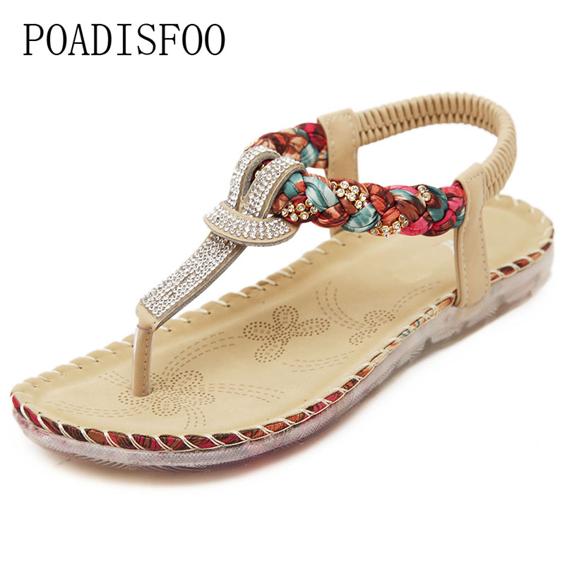 POADISFOO 2017 new national sandals Bohemian diamond large size of foreign trade flat shoes shoes Zapatos Mujer  .JXF-5271 faux suede fleece lined winter coat